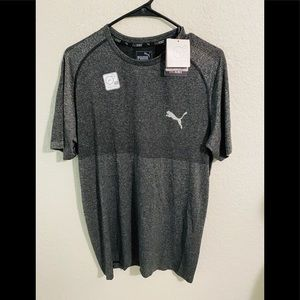 Men's PUMA Gray Long Sleeve Fitted Tee Large